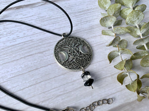Triple Moon Goddess Crystal Necklace