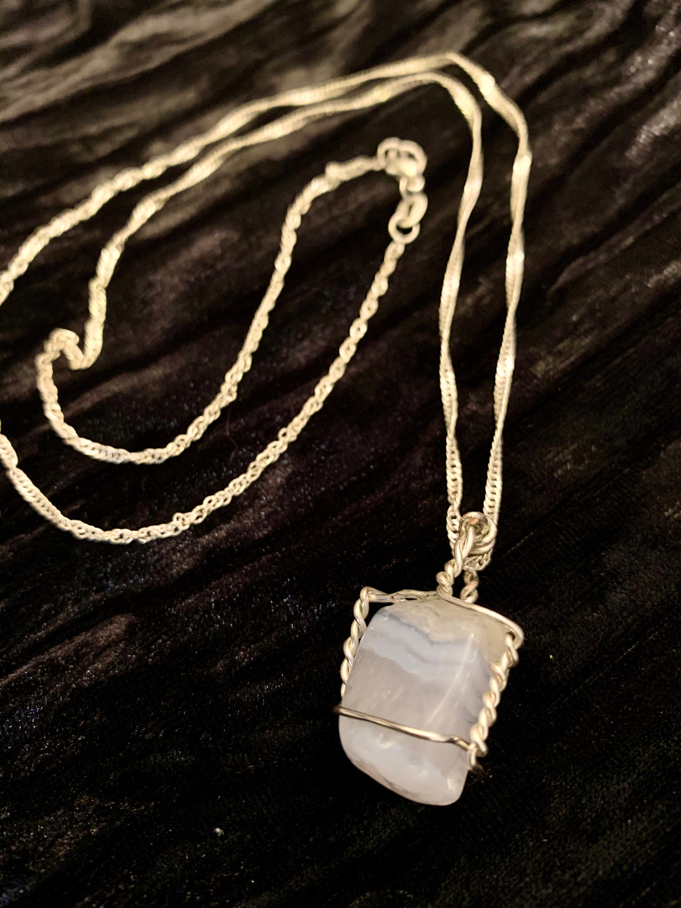 Blue Lace Agate Crystal Necklace