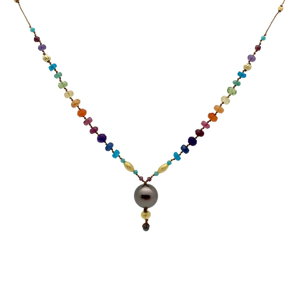 Tahitian Black Pearl & Gold Rainbow with Chocolate Diamond Tip