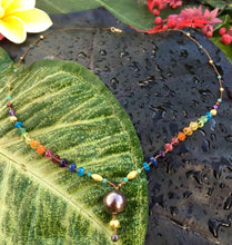 Load image into Gallery viewer, Tahitian Black Pearl & Gold Rainbow with Chocolate Diamond Tip