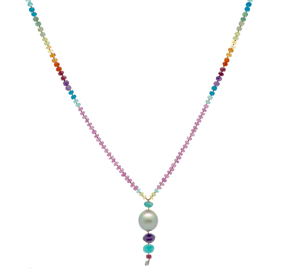 Big Tahitian Pearl and Pink Sapphire Long Rainbow Lei