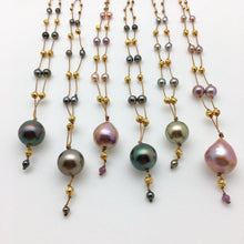 Load image into Gallery viewer, Tahitian Black Green Pearl & Gold