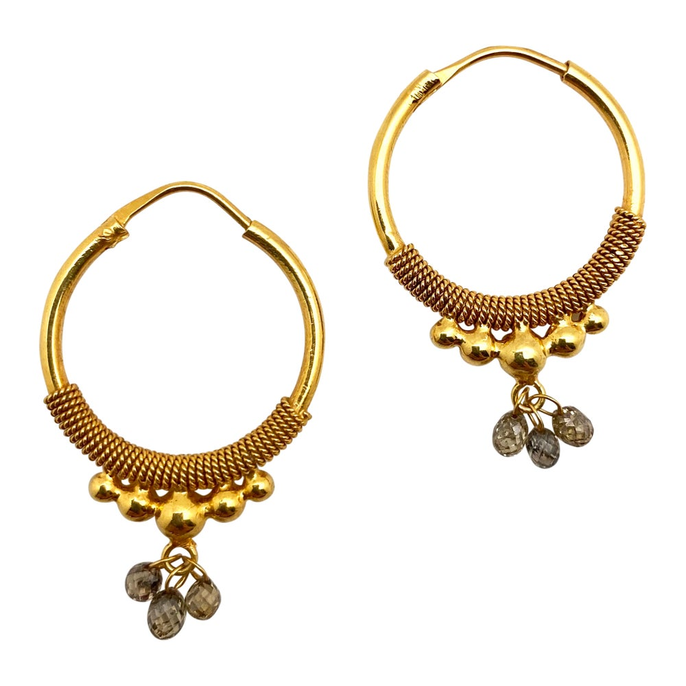 Large Gold Hoops with Natural Diamonds