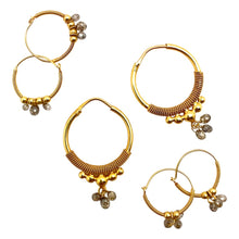 Load image into Gallery viewer, Large Gold Hoops with Natural Diamonds