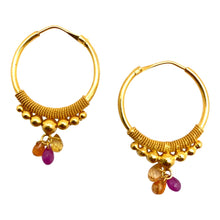 Load image into Gallery viewer, Large Gold Hoops with Sunset sapphires