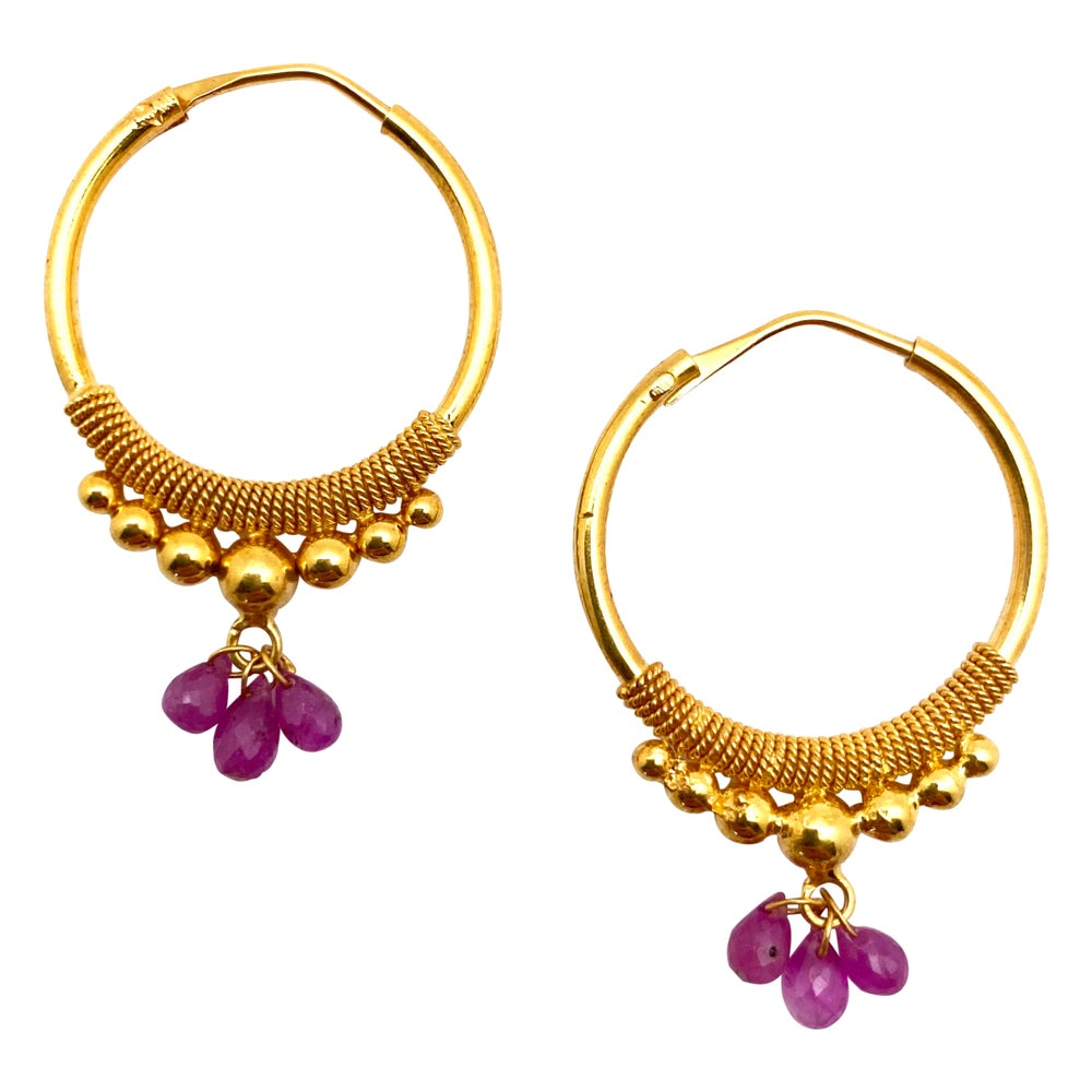 Large Gold Hoops with Rubies