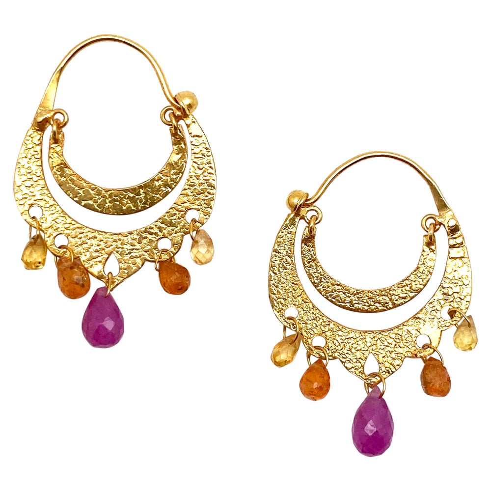 Crescent Dangle Gold Hoops with Sunset Sapphires