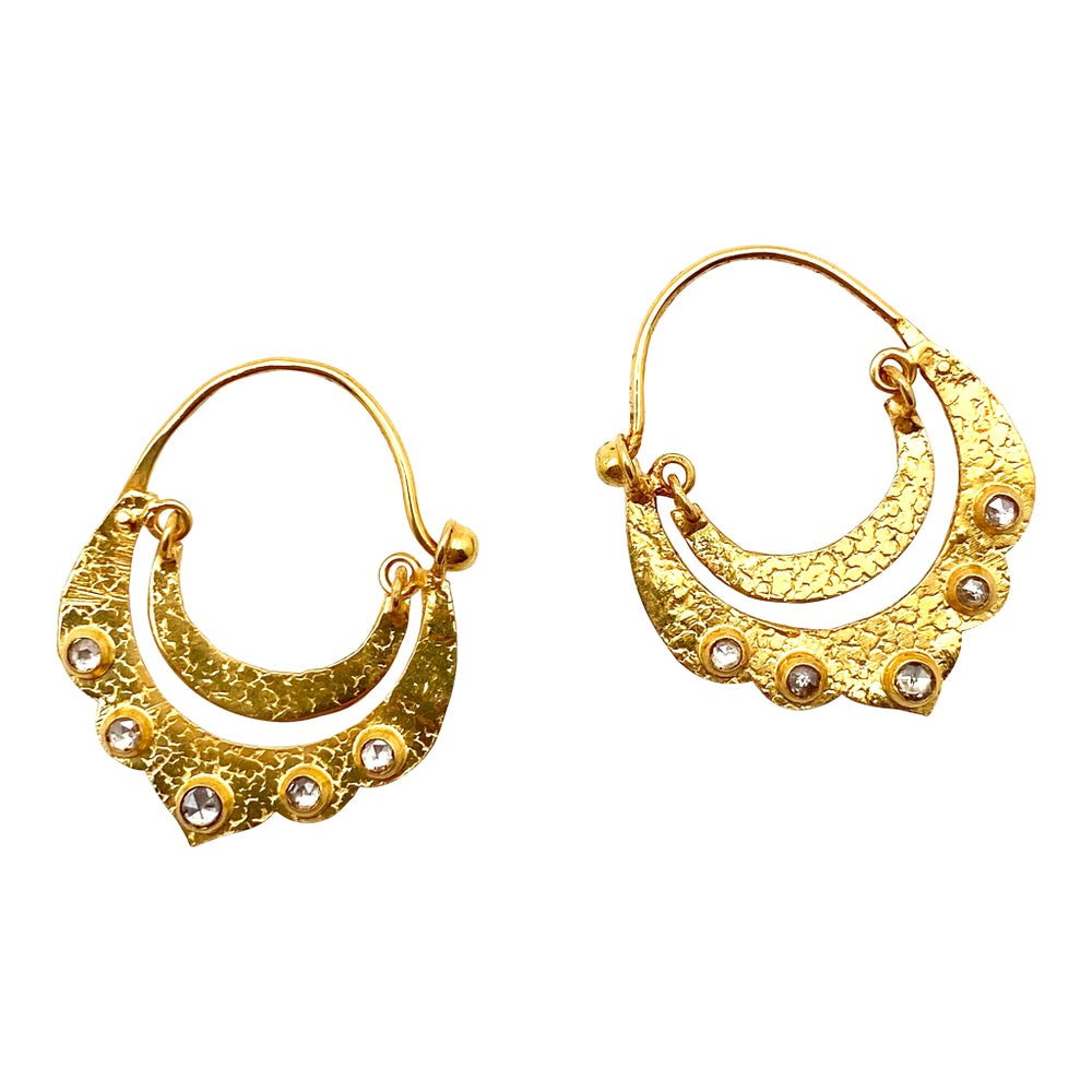 Crescent Dangle Gold Hoops with Diamonds