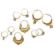 Load image into Gallery viewer, Crescent Dangle Gold Hoops with Diamonds