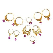 Load image into Gallery viewer, Large Gold Hoops with Rubies