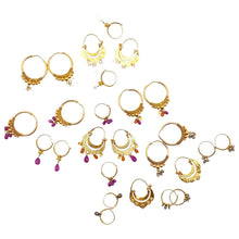 Load image into Gallery viewer, Baby Gold Hoops with Rubies