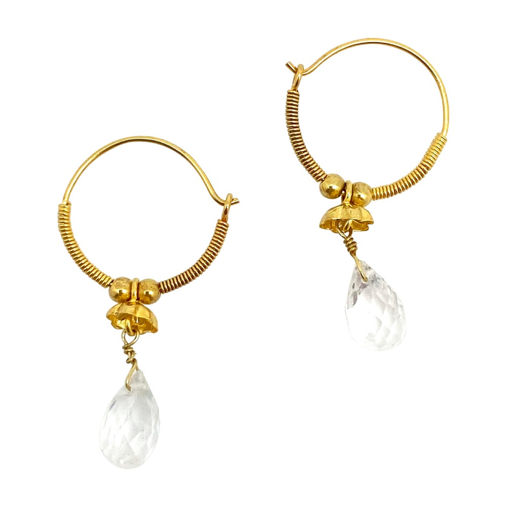 Baby Gold Hoops with Moonstone