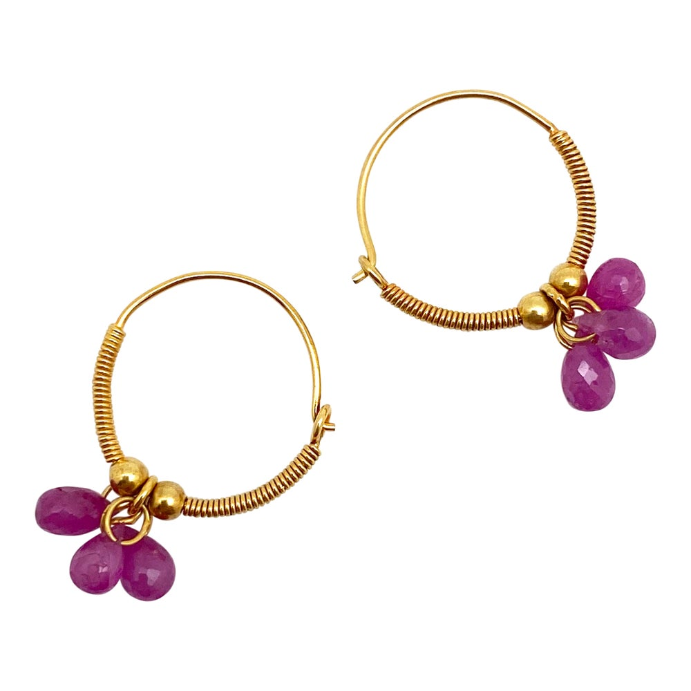 Baby Gold Hoops with Rubies