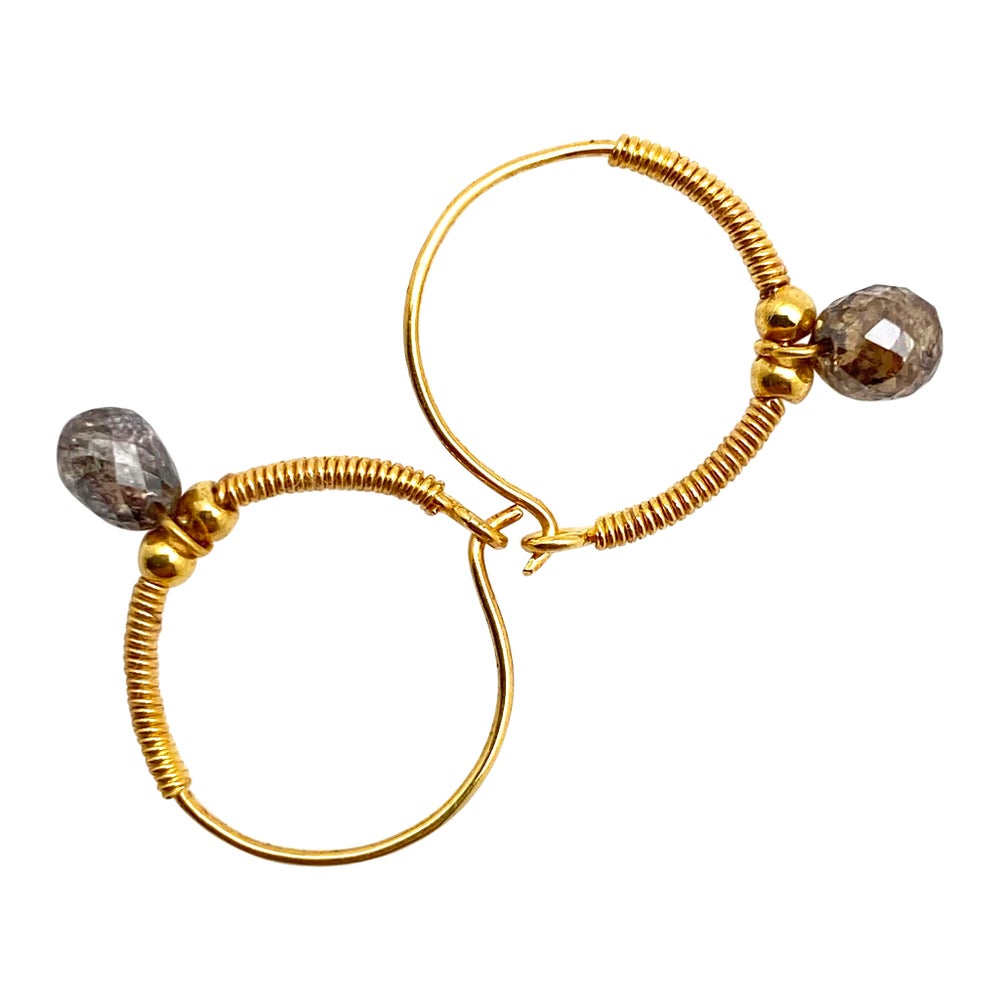 Baby Gold Hoops with large Natural Diamond