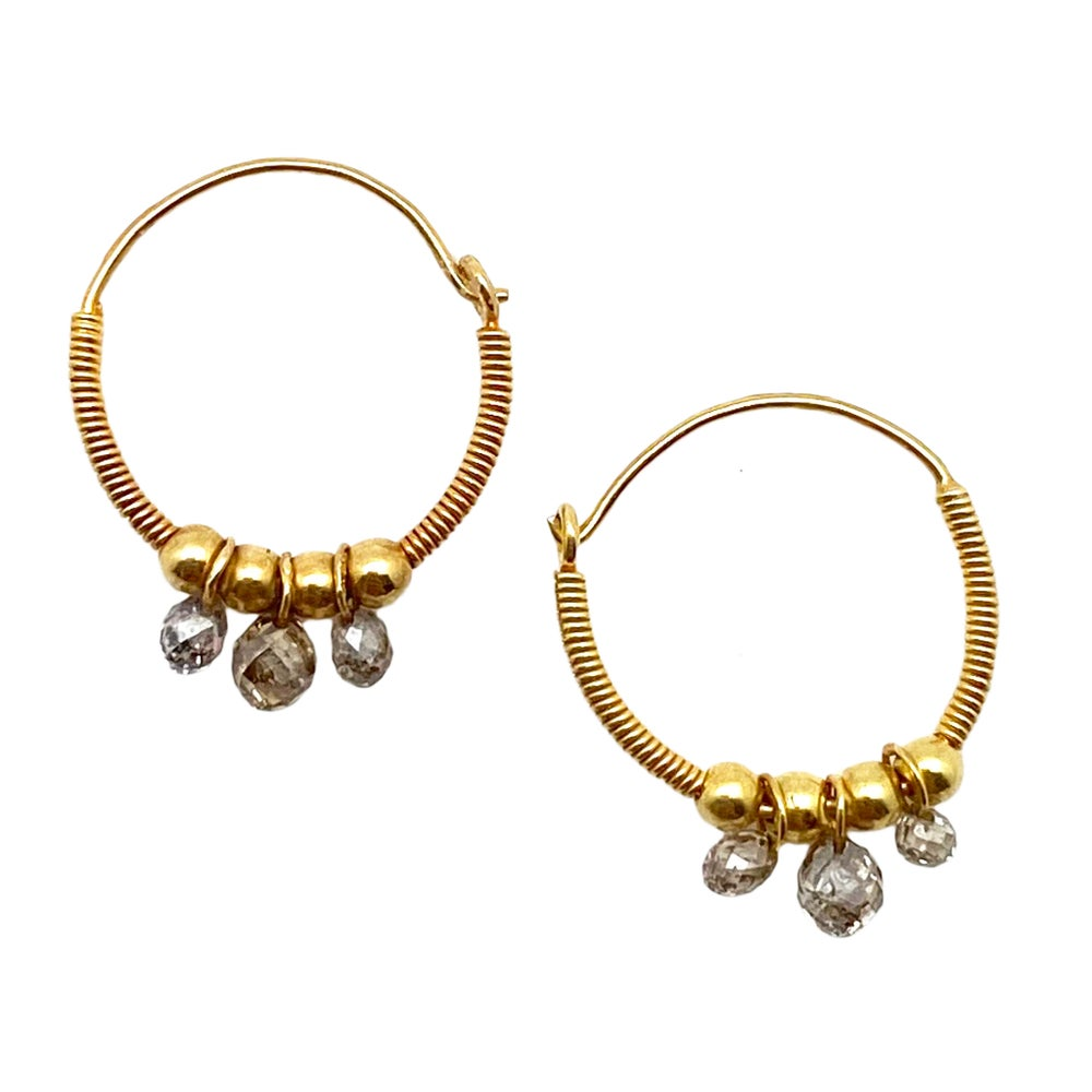 Baby Gold Hoops with Natural Diamonds