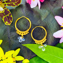 Load image into Gallery viewer, Large Gold Hoops with Moonstones