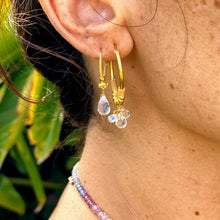 Load image into Gallery viewer, Baby Gold Hoops with Moonstone