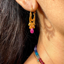 Load image into Gallery viewer, Crescent Dangle Gold Hoops with Sunset Sapphires