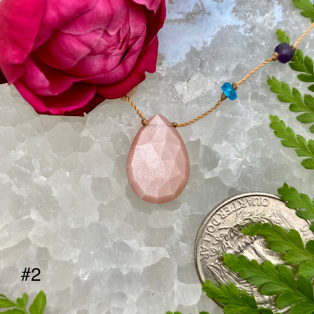 Peach Moonstone Rainbow Drop