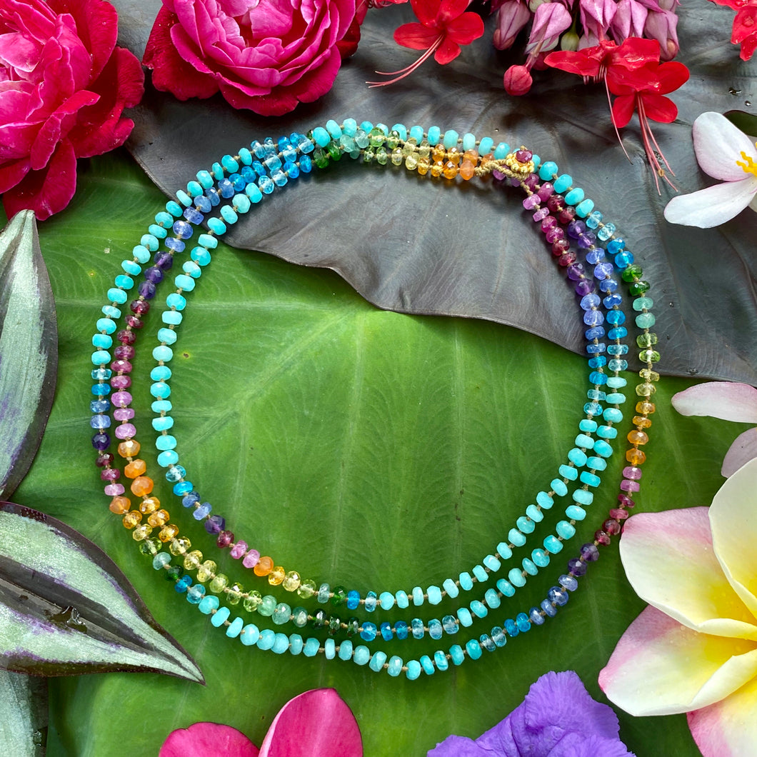 Aqua Amazonite Rainbow Lei