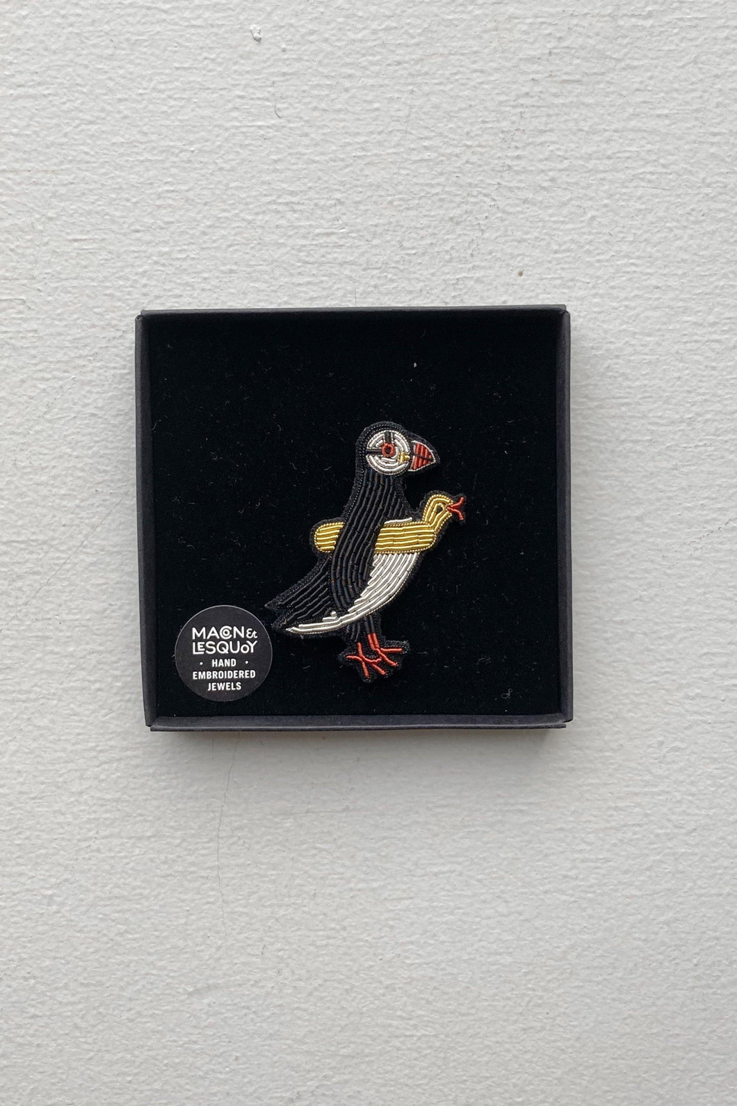 Hand Embroidered Brooch - Puffin