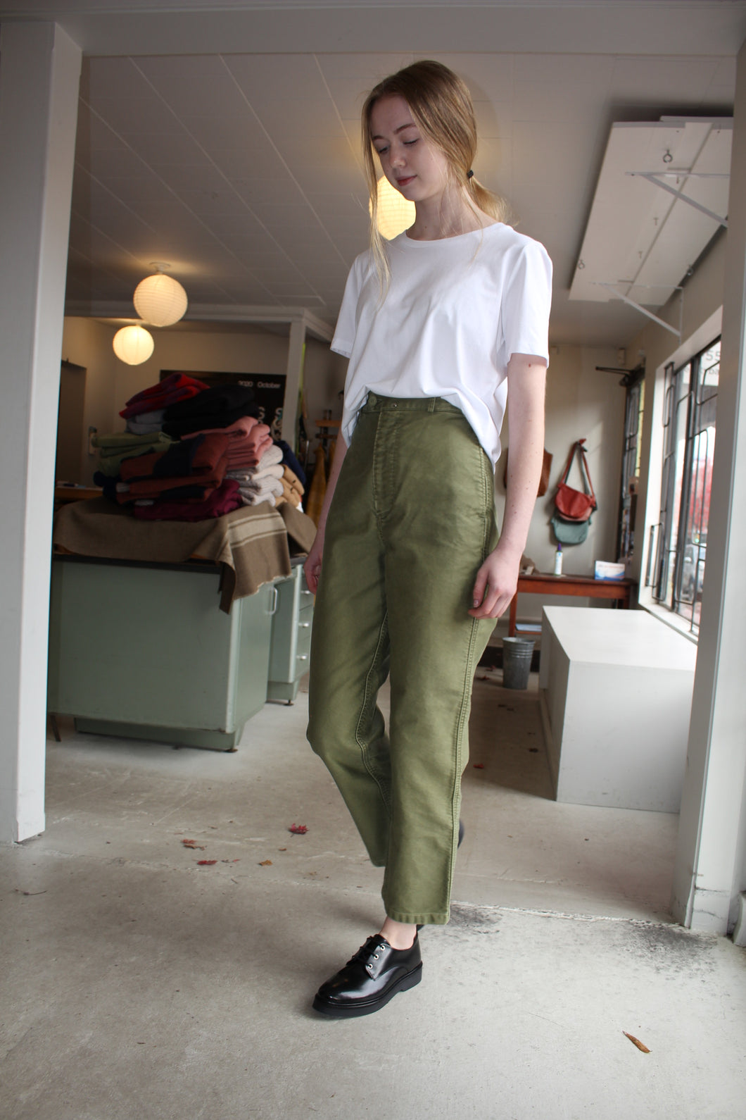 Vintage Washed Wide Work Trousers - Olive Khaki