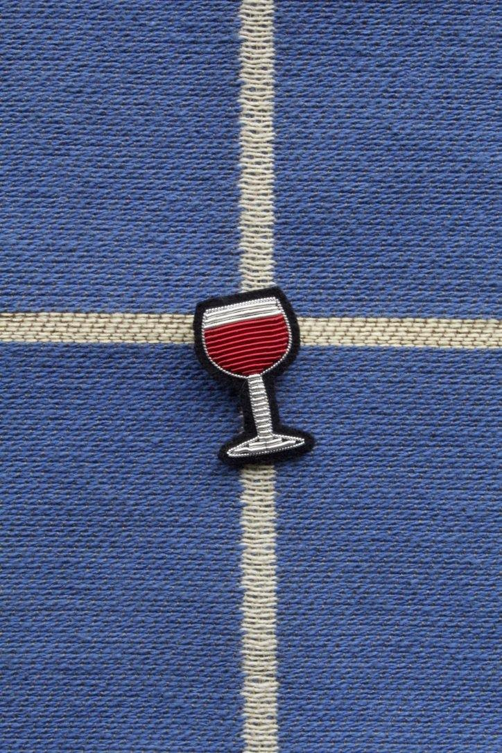 Hand Embroidered Brooch - Wine Glass
