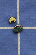 Load image into Gallery viewer, Hand Embroidered Brooch - Coffee & Croissant