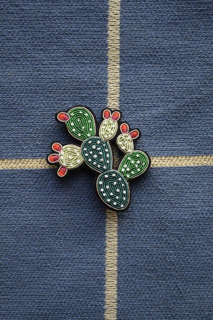 Hand Embroidered Brooch - Prickly Pear