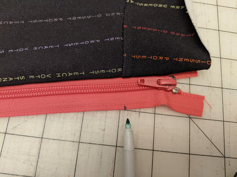 Mark to align other side of zipper
