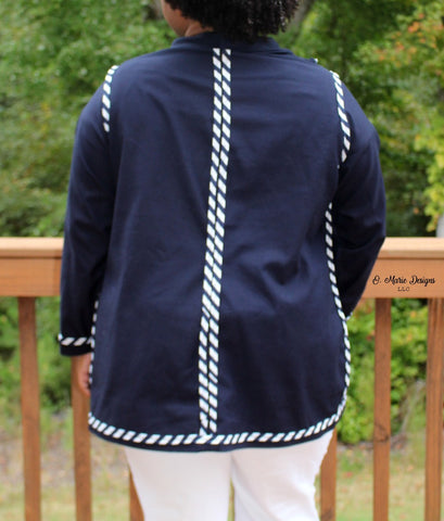 Inside of Brave Blazer with seams finished with bias tape
