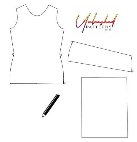 supplies need for pocket modification (bodice, upper pocket, paper, and pencil)