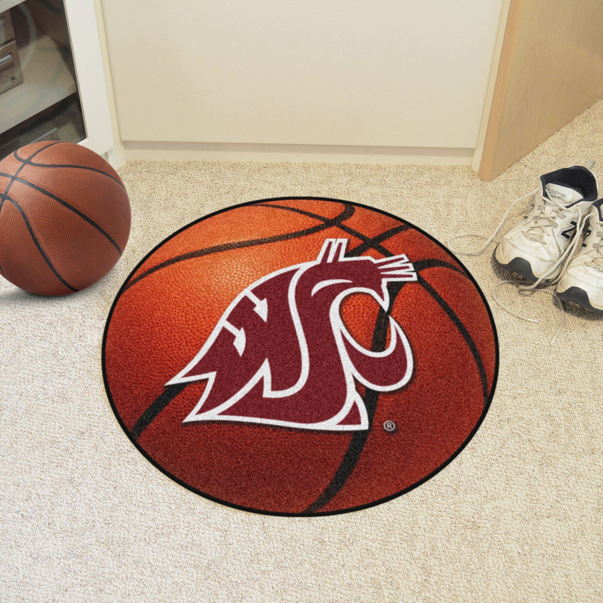 Collegiate - Basketball Mat: T - Z Collegiate Mats, Rectangular Mats, Basketball Mat, Collegiate, Home Fan Mats Washington State