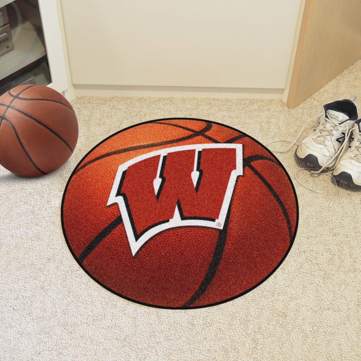 Collegiate - Basketball Mat: T - Z Collegiate Mats, Rectangular Mats, Basketball Mat, Collegiate, Home Fan Mats Wisconsin