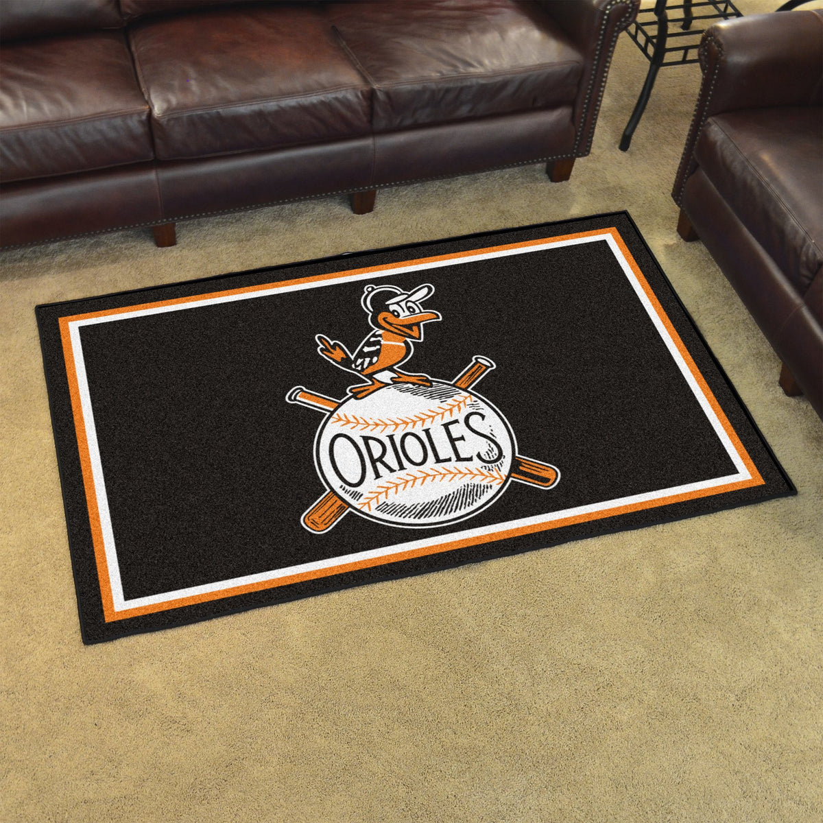 MLB Retro - 4' x 6' Rug MLB Retro Mats, Plush Rugs, 4x6 Rug, MLB, Home Fan Mats Baltimore Orioles 2