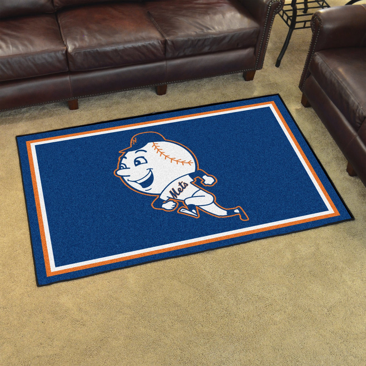 MLB Retro - 4' x 6' Rug MLB Retro Mats, Plush Rugs, 4x6 Rug, MLB, Home Fan Mats New York Mets