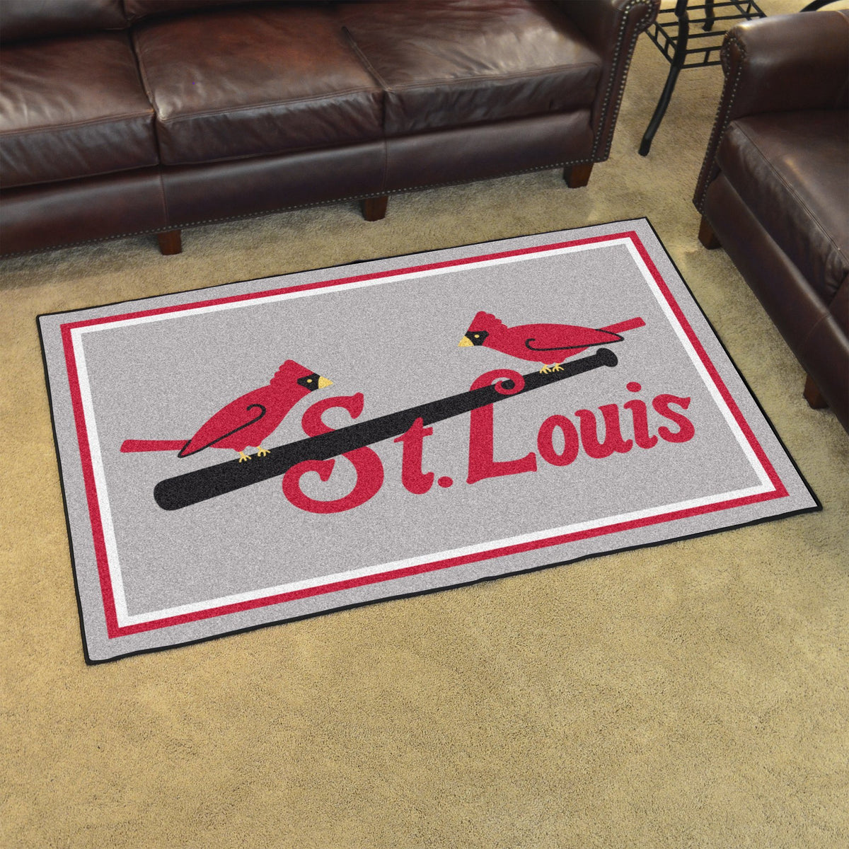MLB Retro - 4' x 6' Rug MLB Retro Mats, Plush Rugs, 4x6 Rug, MLB, Home Fan Mats St. Louis Cardinals
