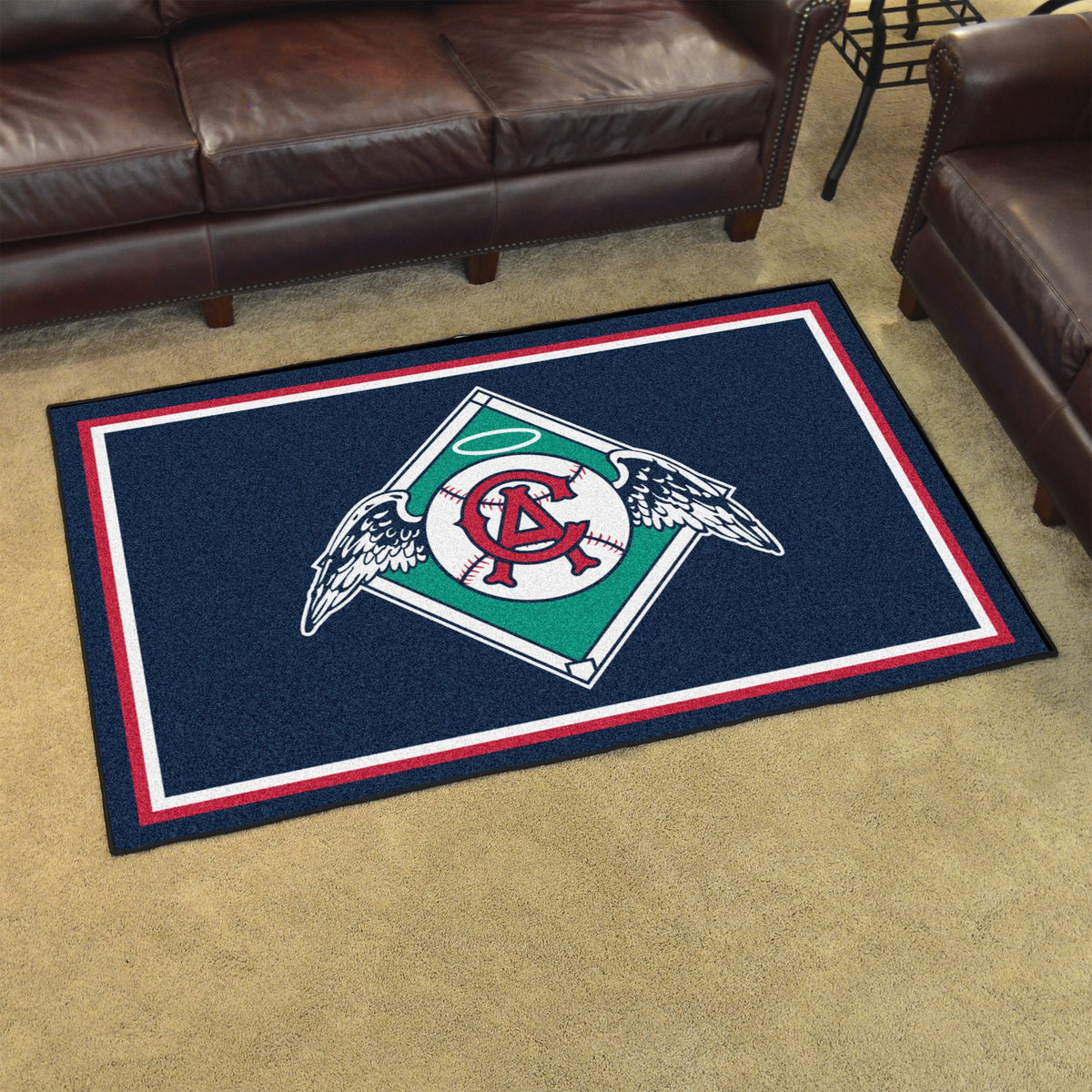 MLB Retro - 4' x 6' Rug MLB Retro Mats, Plush Rugs, 4x6 Rug, MLB, Home Fan Mats California Angels