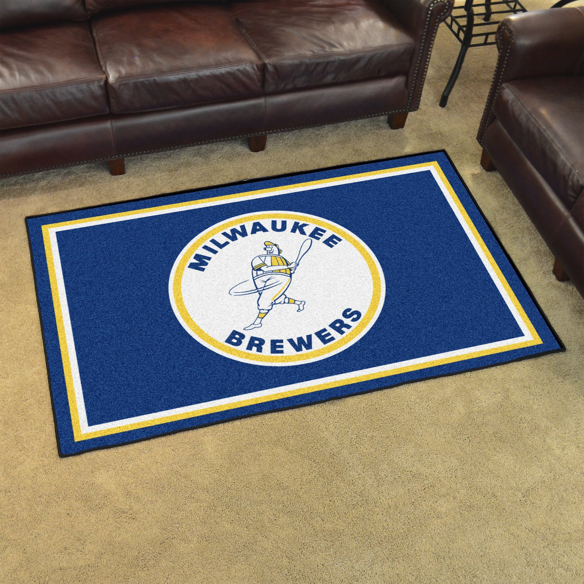 MLB Retro - 4' x 6' Rug MLB Retro Mats, Plush Rugs, 4x6 Rug, MLB, Home Fan Mats Milwaukee Brewers