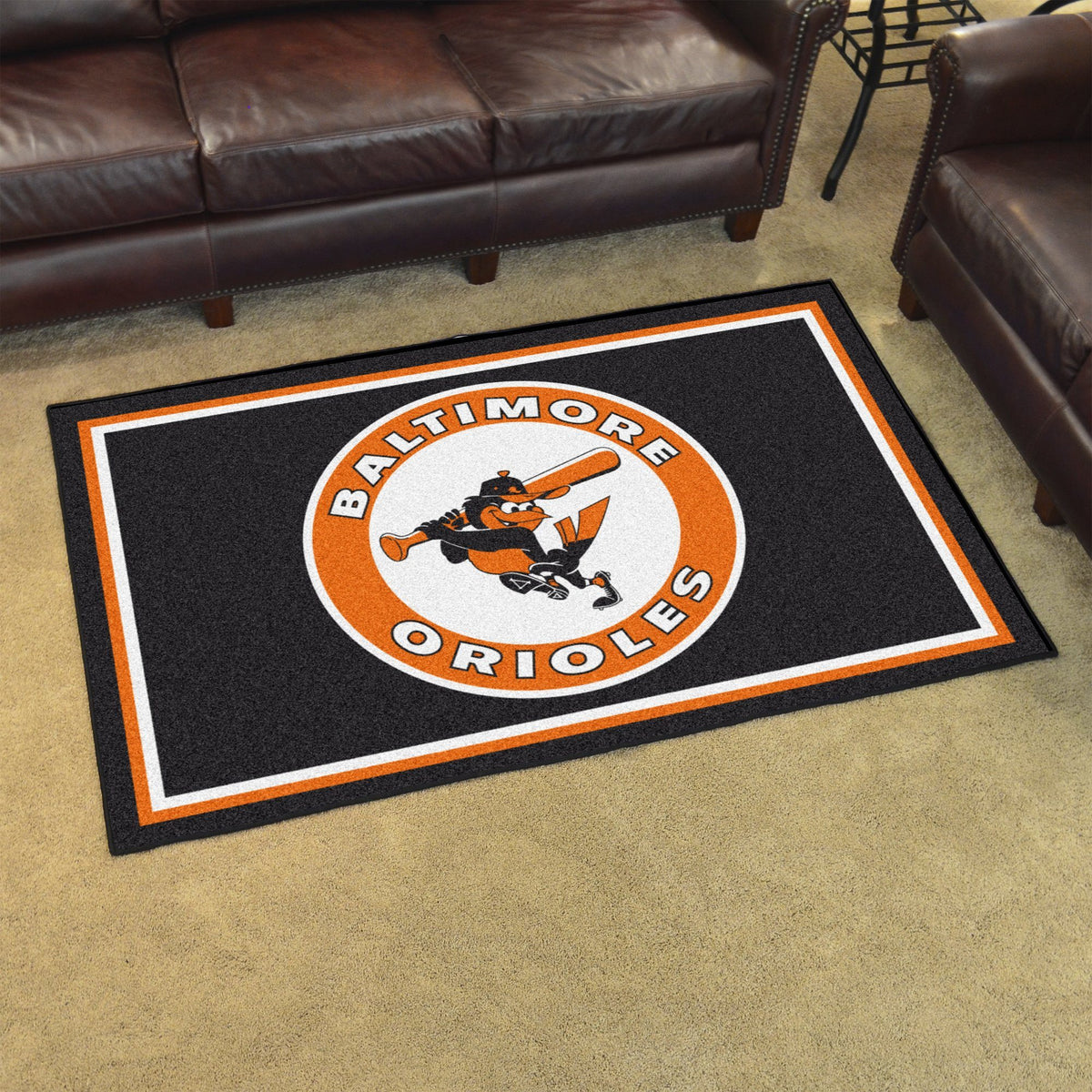 MLB Retro - 4' x 6' Rug MLB Retro Mats, Plush Rugs, 4x6 Rug, MLB, Home Fan Mats Baltimore Orioles