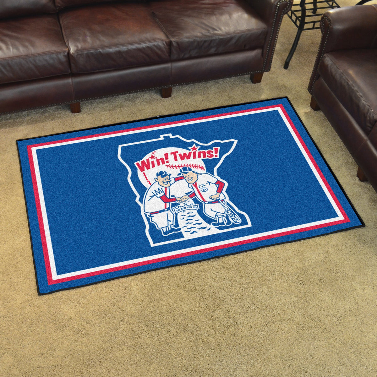 MLB Retro - 4' x 6' Rug MLB Retro Mats, Plush Rugs, 4x6 Rug, MLB, Home Fan Mats Minnesota Twins