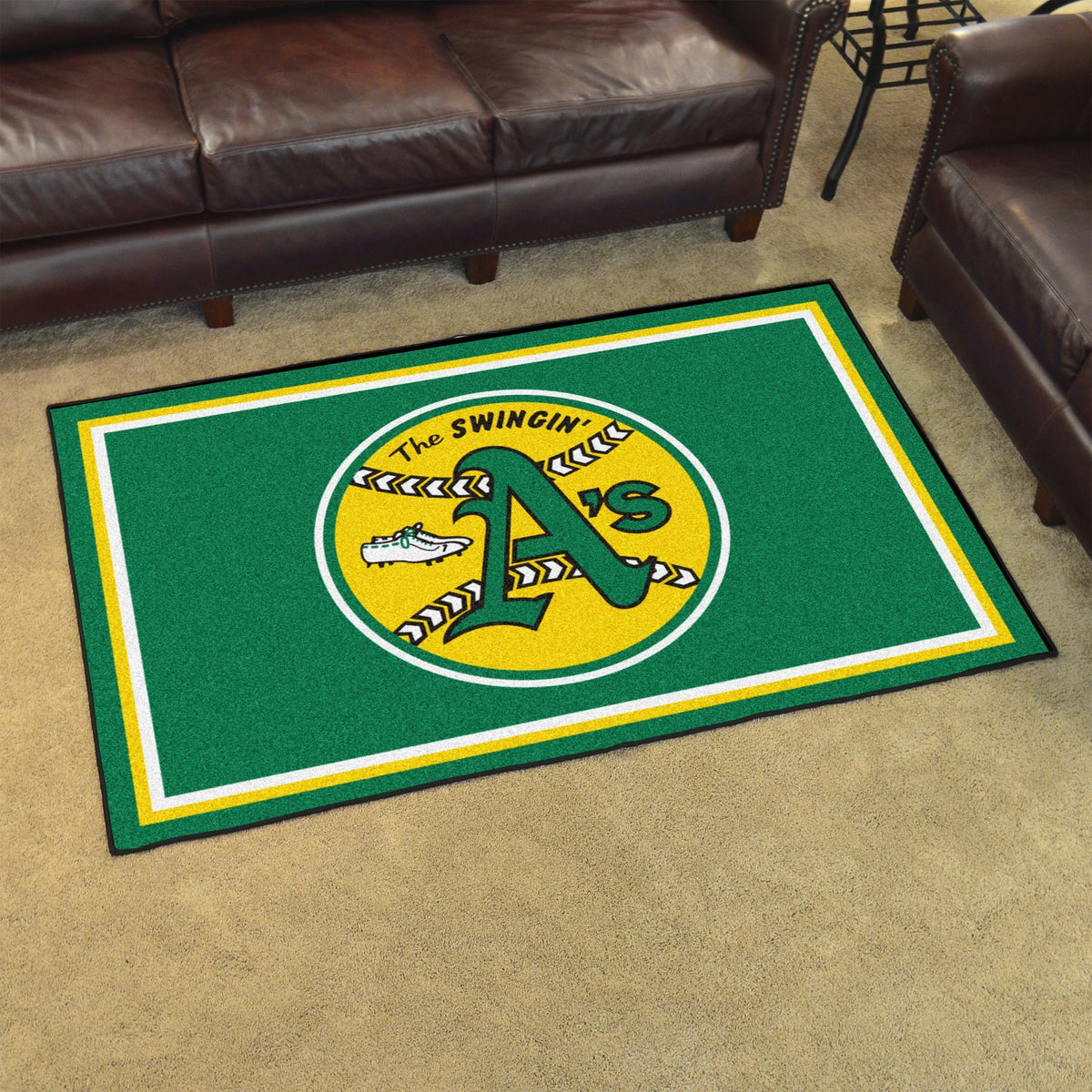 MLB Retro - 4' x 6' Rug MLB Retro Mats, Plush Rugs, 4x6 Rug, MLB, Home Fan Mats Oakland Athletics