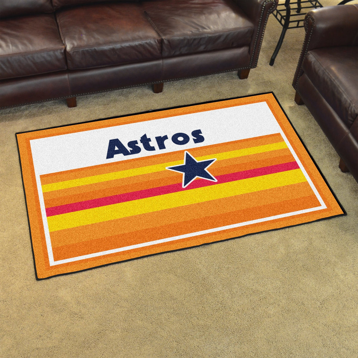 MLB Retro - 4' x 6' Rug MLB Retro Mats, Plush Rugs, 4x6 Rug, MLB, Home Fan Mats Houston Astros