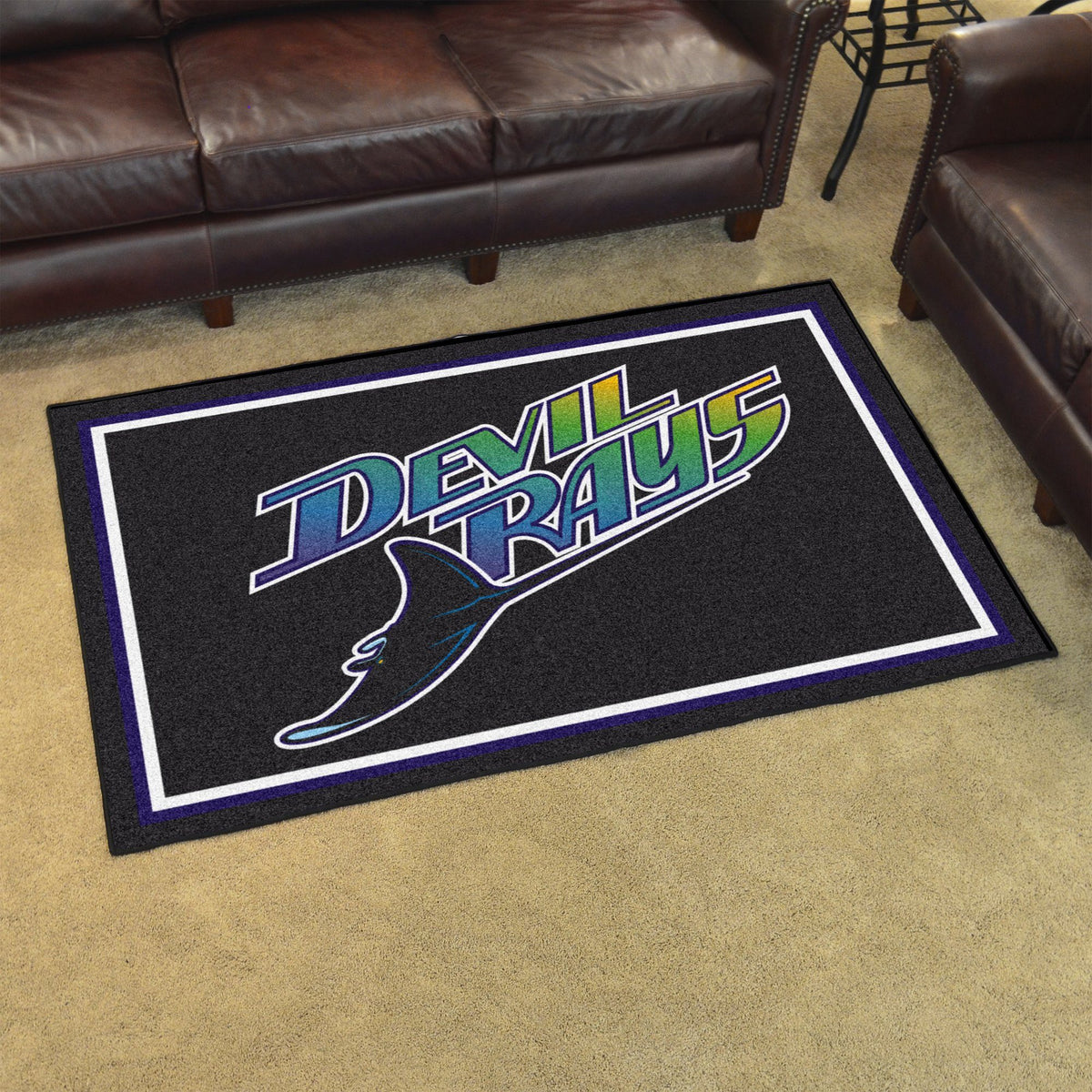 MLB Retro - 4' x 6' Rug MLB Retro Mats, Plush Rugs, 4x6 Rug, MLB, Home Fan Mats Tampa Bay Rays