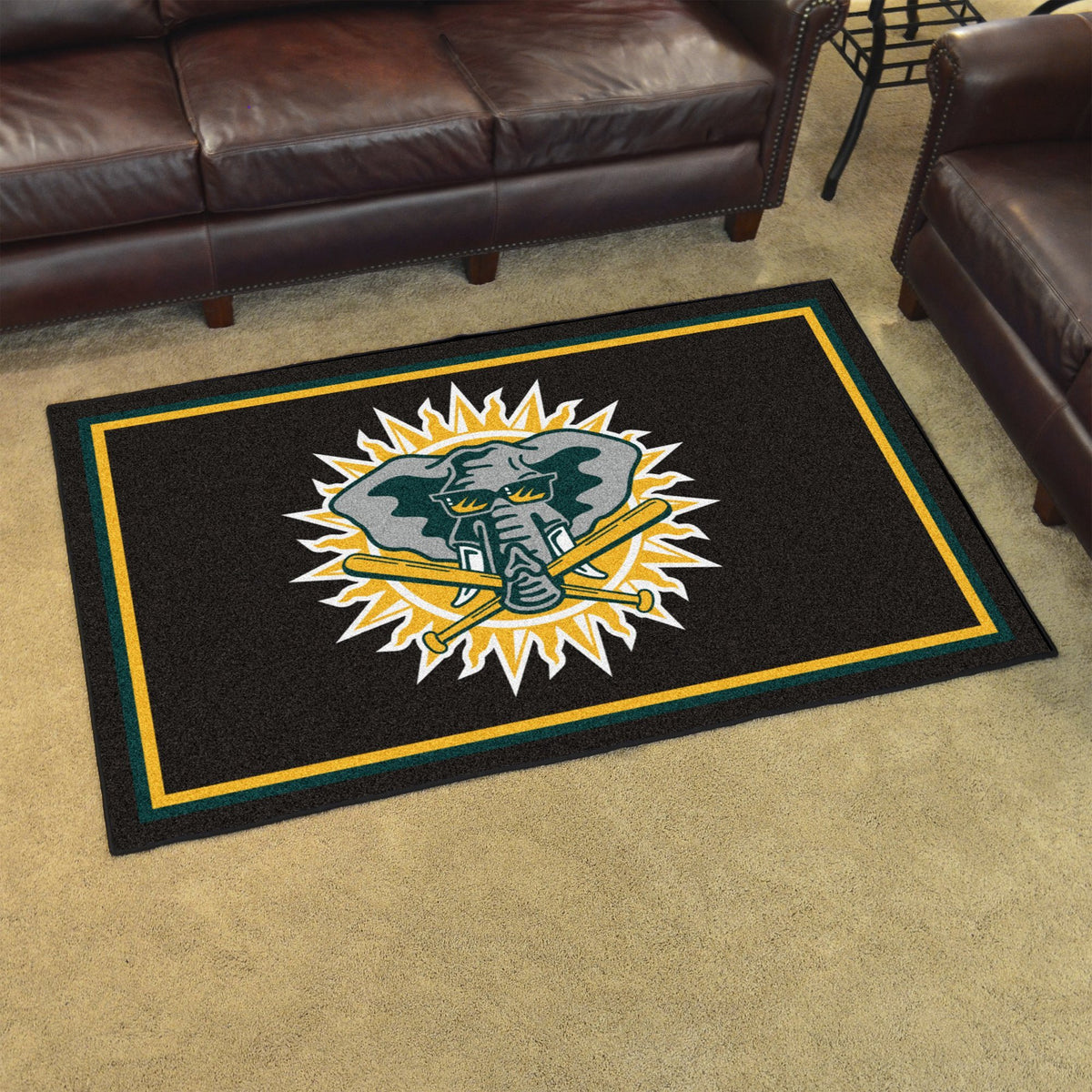 MLB Retro - 4' x 6' Rug MLB Retro Mats, Plush Rugs, 4x6 Rug, MLB, Home Fan Mats Oakland Athletics 2
