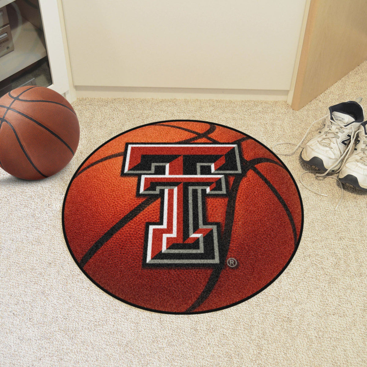 Collegiate - Basketball Mat: T - Z Collegiate Mats, Rectangular Mats, Basketball Mat, Collegiate, Home Fan Mats Texas Tech