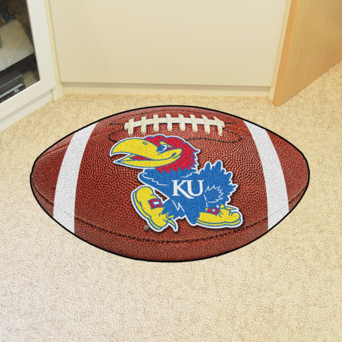Collegiate - Football Mat: A - K Collegiate Mats, Rectangular Mats, Football Mat, Collegiate, Home Fan Mats Kansas
