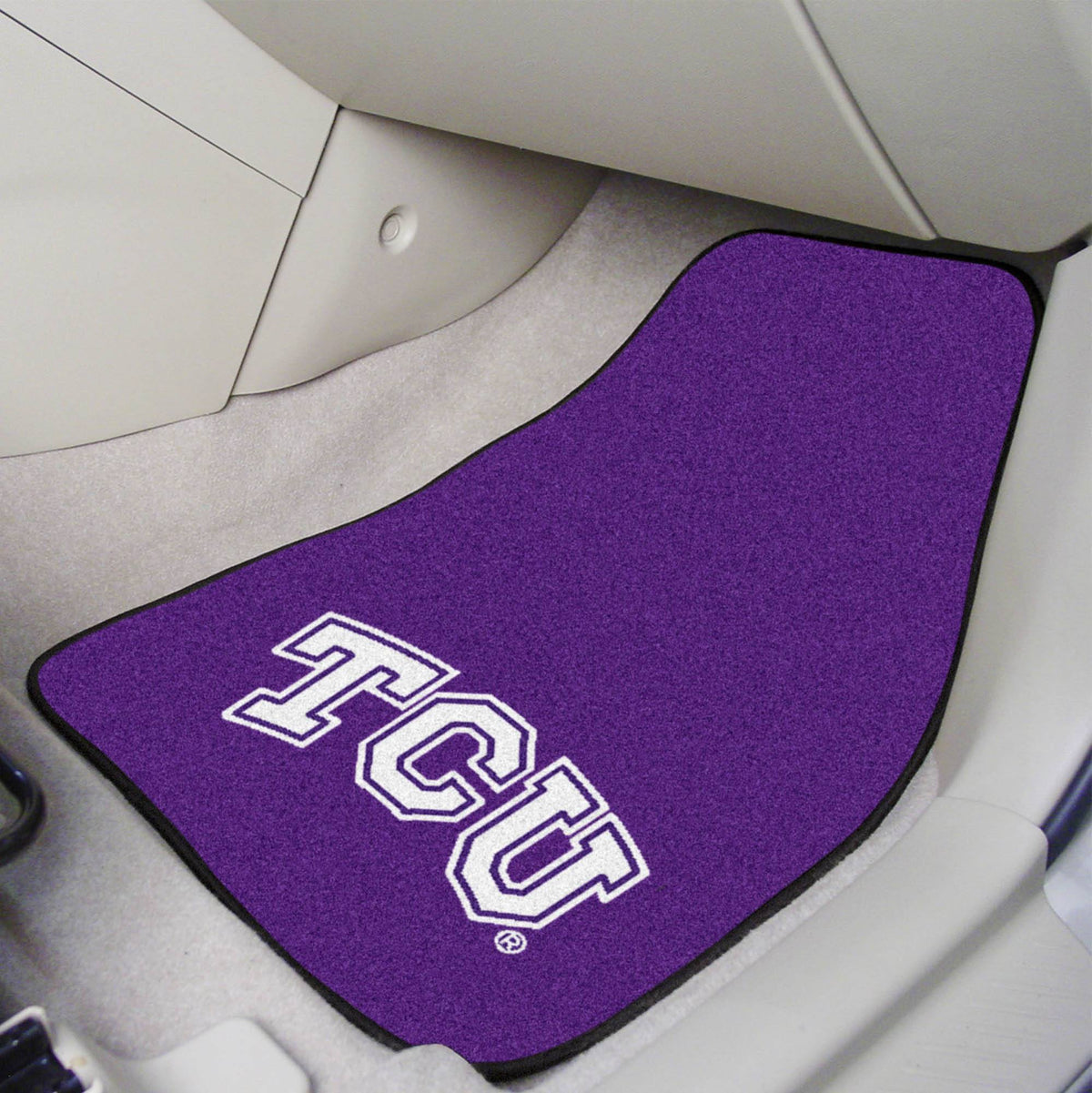 Collegiate - Carpet Car Mat, 2-Piece Set: T - Z Collegiate Car Mat, Front Car Mats, 2-pc Carpet Car Mat Set, Collegiate, Auto Fan Mats TCU
