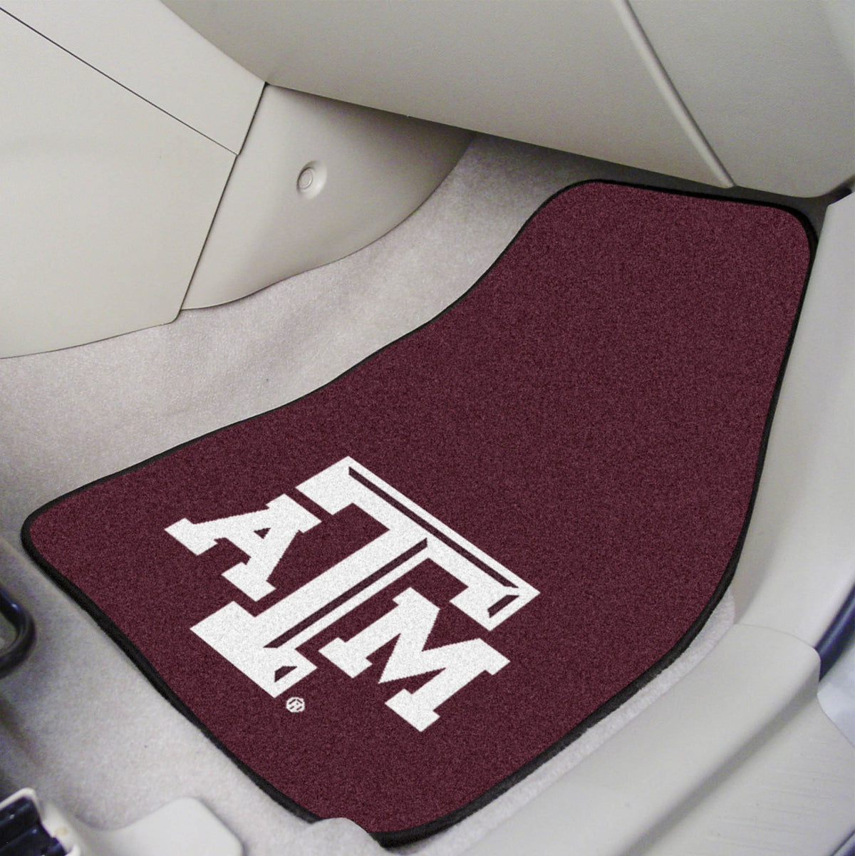 Collegiate - Carpet Car Mat, 2-Piece Set: T - Z Collegiate Car Mat, Front Car Mats, 2-pc Carpet Car Mat Set, Collegiate, Auto Fan Mats Texas A&M