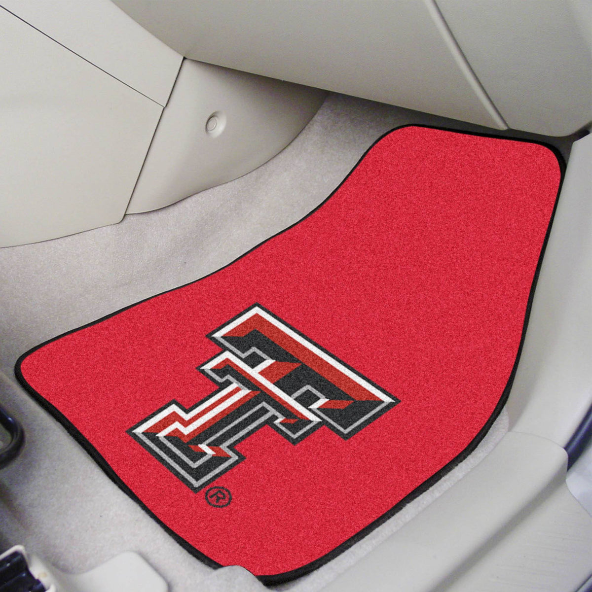 Collegiate - Carpet Car Mat, 2-Piece Set: T - Z Collegiate Car Mat, Front Car Mats, 2-pc Carpet Car Mat Set, Collegiate, Auto Fan Mats Texas Tech